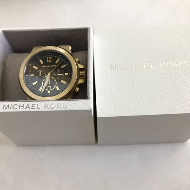 8e7935e238ed Michael Kors Dylan Black Gold Chrono Watch (MK8325)