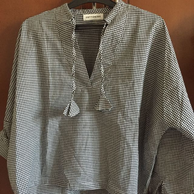Never Been Used Cottoninl Gingham Tassle Blouse