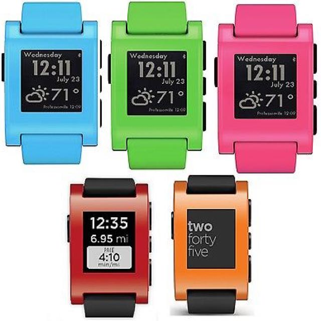 NEW Pebble SmartWatch Bluetooth For Apple Android Water Resistant Rechargeable - paypal, no pickup