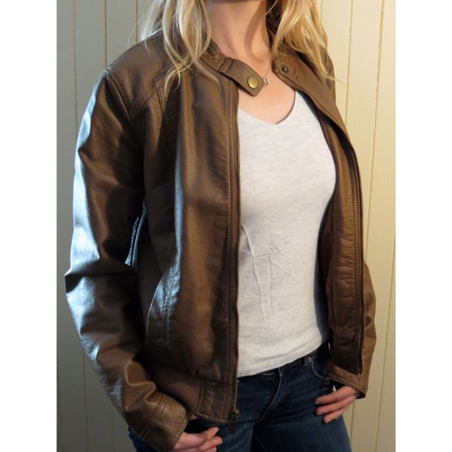 Old Navy Faux Leather Brown Bomber Jacket