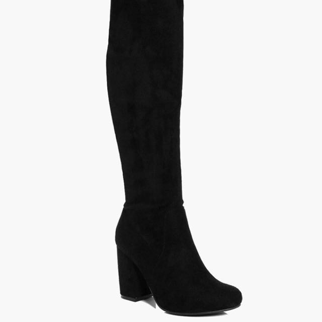 Over The Knee Black Heeled Boots