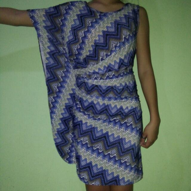 Preloved Printed Blue Dress
