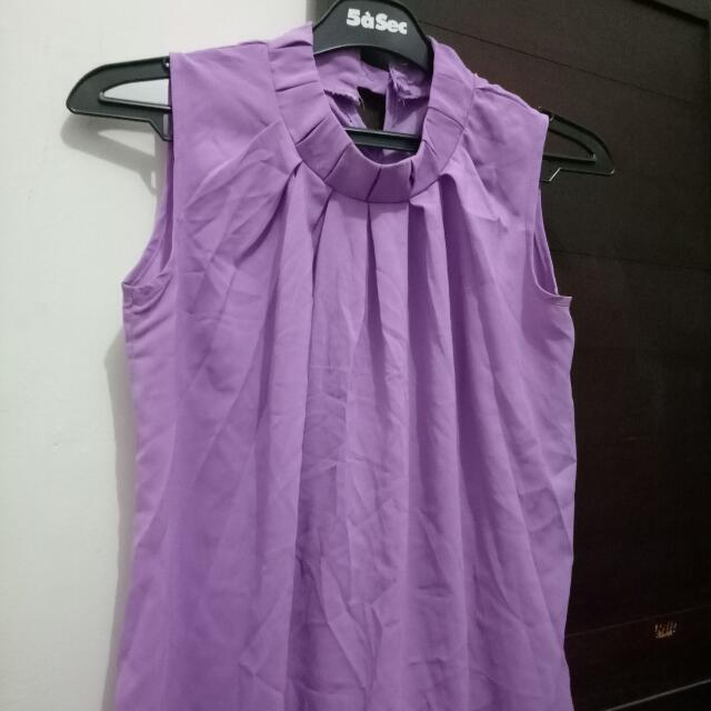 Purple Blouse Wanita ( Chiffon Blouse)