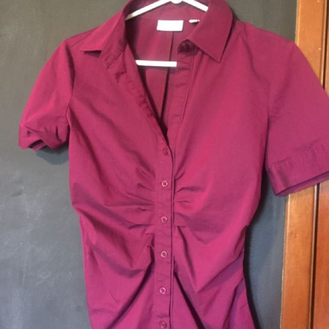 Purple Button Up Coloured Shirt - Small