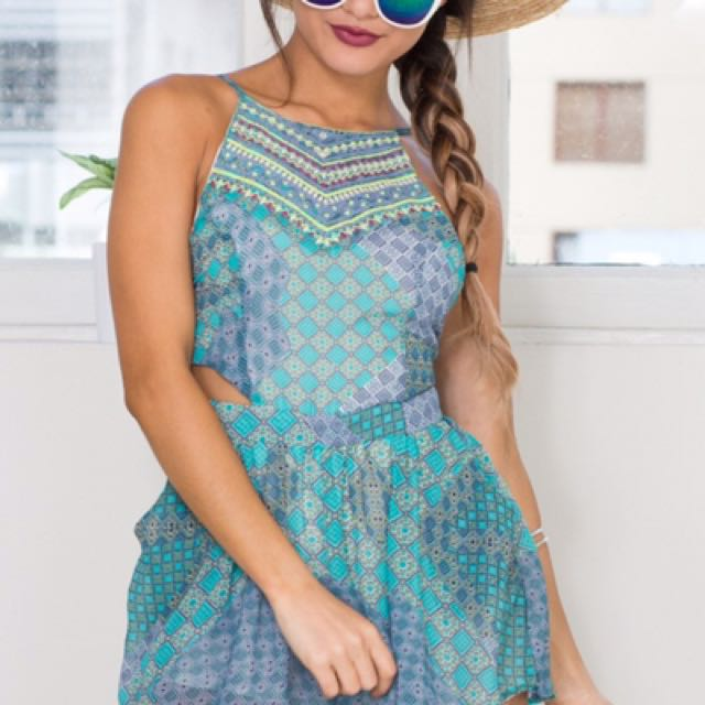 Showpo Green Printed Playsuit XS Size 6