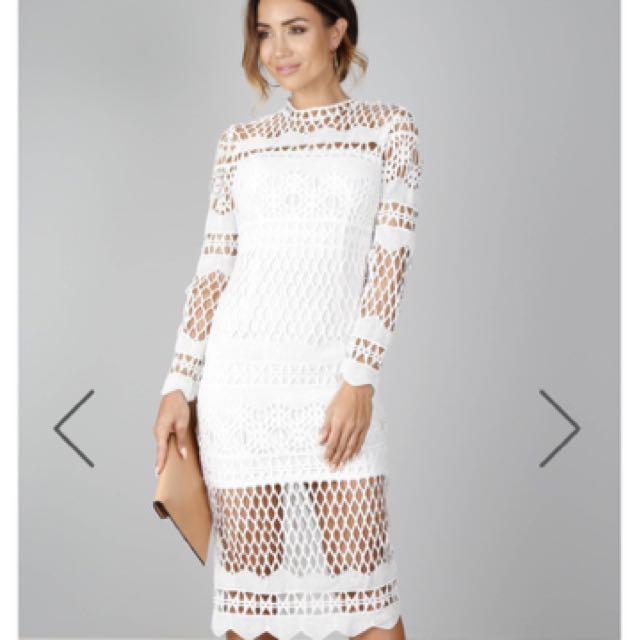 Showpo Queens Dress In White Crochet Long Sleeve