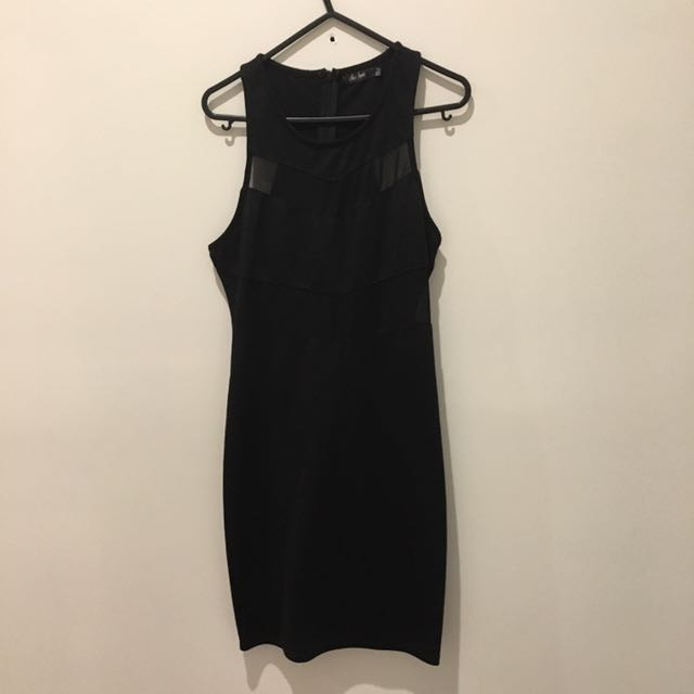 Size 12 Mesh Insert Black Dress