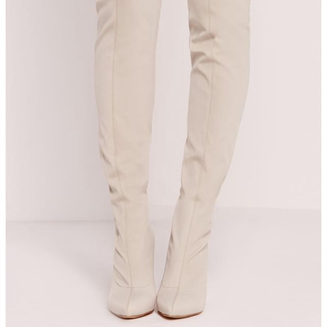 Size 6 New Cream Over The Knee Boots