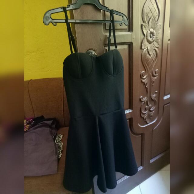 Spaghetti-strapped Black Dress