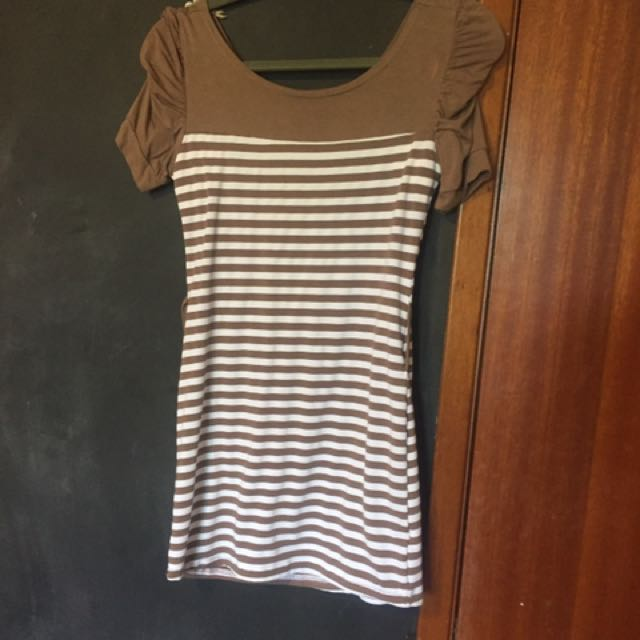 Stripped Brown And White Dress From Poland - Small