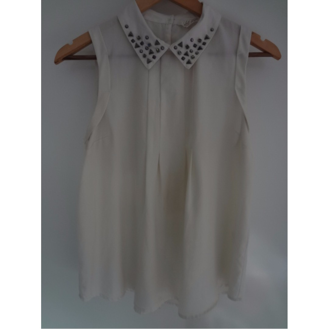 Studded collar white top