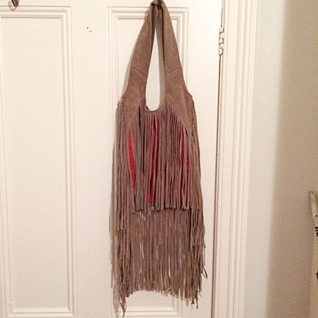 Suede Tassel Bag- Tan and Bright Burnt Orange - Sportsgirl