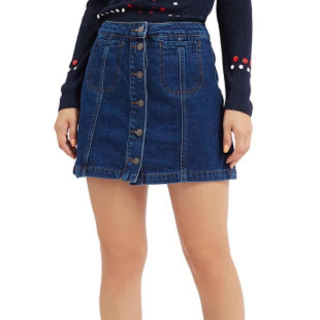 Topshop Button Front Denim Skirt