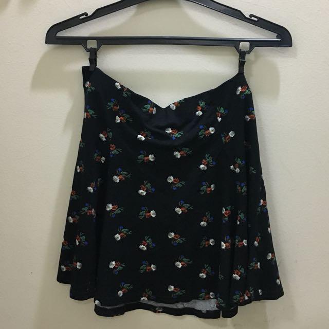Topshop Floral Skater Skirt - Black