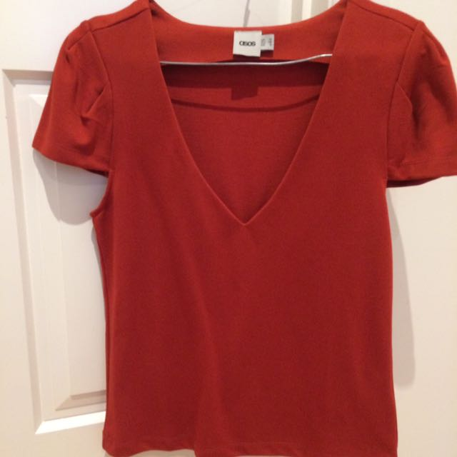 UK Size 10 ASOS V-Neck Top In Burnt Orange