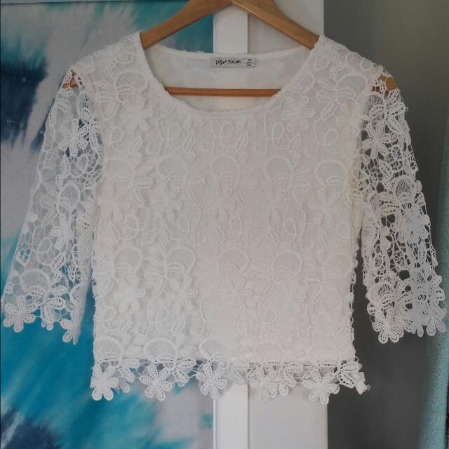 white floral top size 8