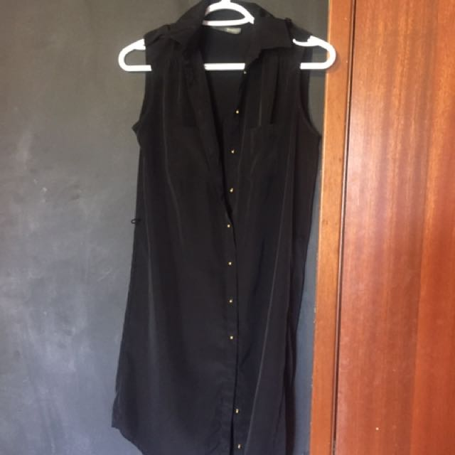 Womens Black Button Up Sleeves Dress - Small