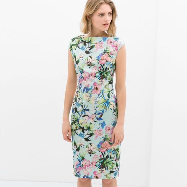 7c34c79574 ZARA Mint Floral Oriental Midi Dress Size M