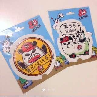賣剩最後兩張-New Caltex X Panda-a-panda Stickers 車窗貼紙 (聾出沒注意已經沒有貨!!)