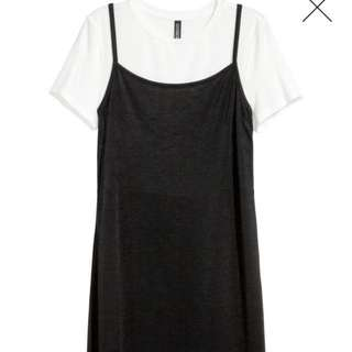 Slip dress with a top