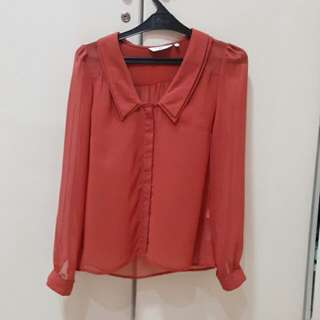 New Look Sheer Terracotta Shirt