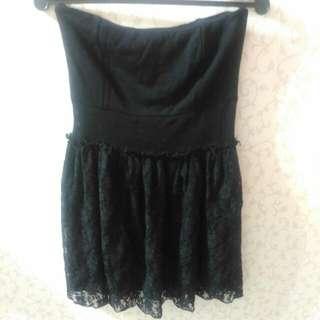 黑色 平口 蕾絲 鬆緊 短洋裝 M號 #十二月免購物直接送