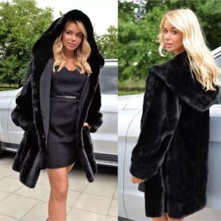 Warm Winter Faux Fur Coat Black Hoodie