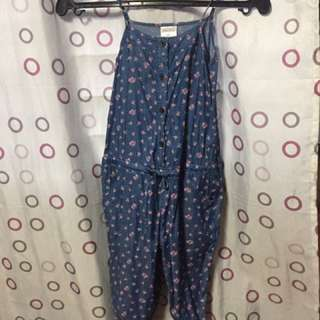 REPRICED! Preloved Floral Denim Jumpsuit
