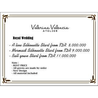 Royal wedding Price list