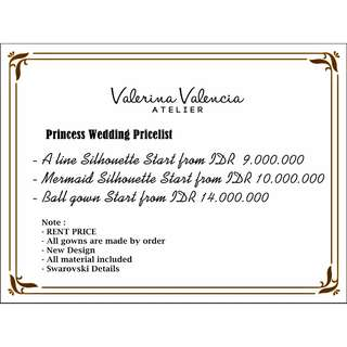 Princess Wedding Pricelist