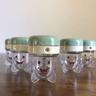 6 X Baby Bullet Containers For Baby Food & Smoothies