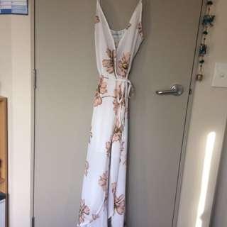 Oscar St Wrap around white maxi dress