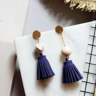 Navy Block Earrings