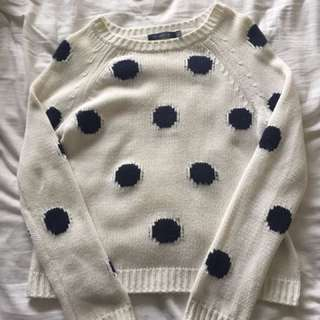 White Polka Dot Knit Sweater