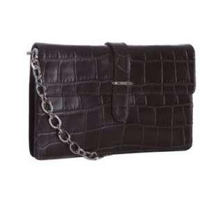 100% Authentic Black Furla Crocodile Embossed Chain Clutch