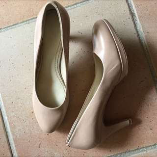 Nine West Nude Heels Leather Size 6.5