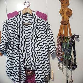 🎀Black And White Stripes Kimono