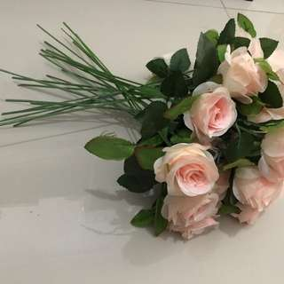 24pcs bunga mawar plastik