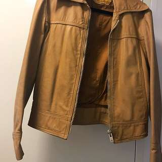 Genuine Retro Leather Jacket Unisex - Caramel Color