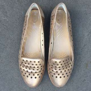 Rose Gold Leather Loafers - 8 - Jo Mercer