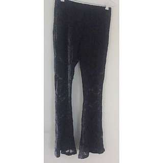 Glamorous Black Crochet Festival Pants