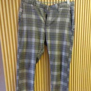 韓版格紋長褲