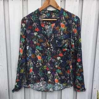 Zara Floral Cotton Shirt, XS