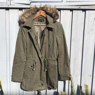 Khaki Zip-up Jacket, With Detachable Faux Fur Trim Hood, XS