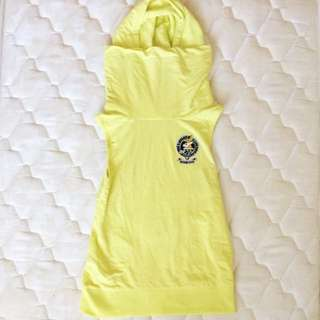 Old School Yellow Tank Top With Hoodie