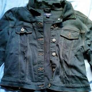 Demin Crop Jacket Dark Grey Blue