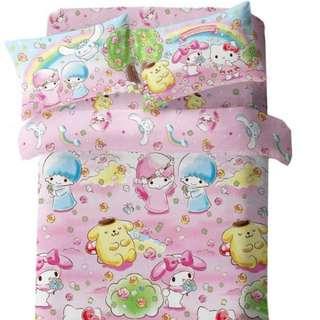 Sanrio twins star melody 布丁狗布甸狗天絲綿活性印花1300針床品套裝床單 粉紅色款