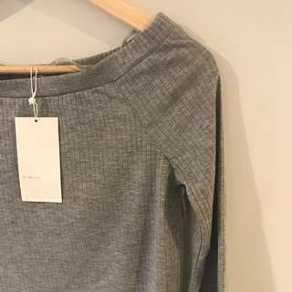 Grey Off The Shoulder (Bardot Style) Top