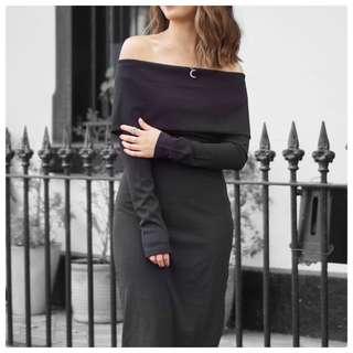 BRAND NEW: Forcast Off Shoulder Black Dress