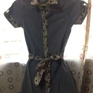 Preloved Elle Denim with Print Dress